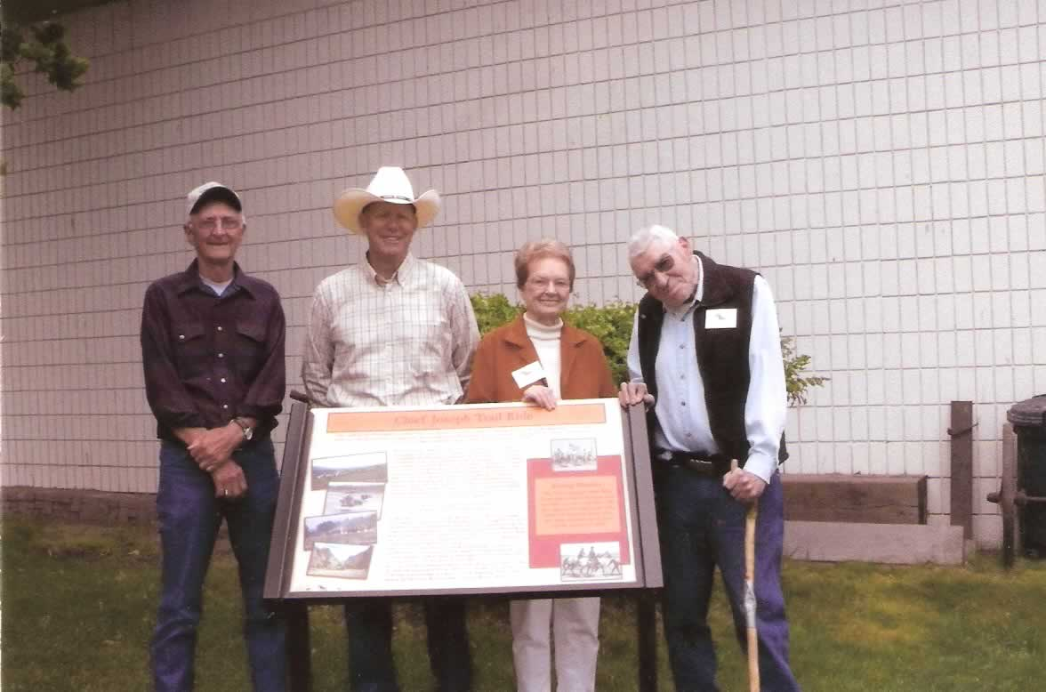 Dedication of the Nez Perce Trail Interpretive Signage at the A.P.H.C. L. to R. Dick Seymour, VP Nez Perce Trail Foundation; Steve Taylor, CEO Appaloosa Horse Club; Iola Hatley & George Hatley, who has passed on and will never be forgotten. Also known as Mr. Appaloosa.